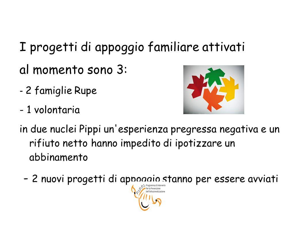 I progetti di appoggio familiare attivati al momento sono 3: