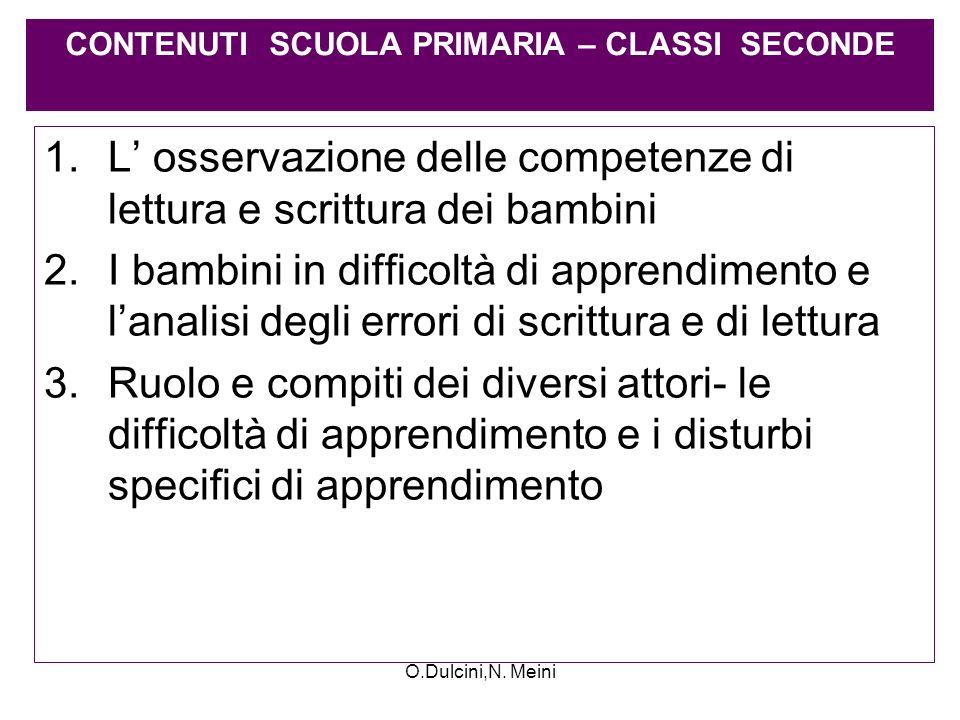 CONTENUTI SCUOLA PRIMARIA – CLASSI SECONDE