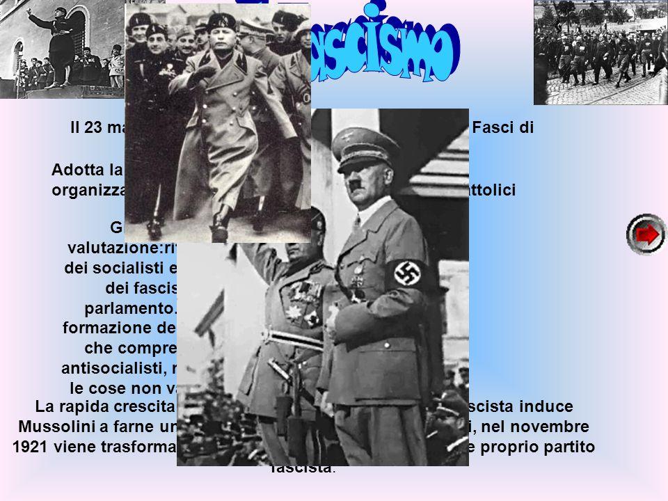 Il Fascismo Il 23 marzo 1919 Benito Mussolini fonda a Milano i Fasci di combattimento,un movimento politico.