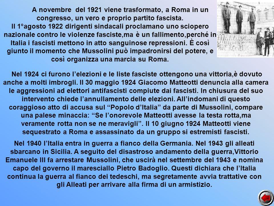 A novembre del 1921 viene trasformato, a Roma in un congresso, un vero e proprio partito fascista.