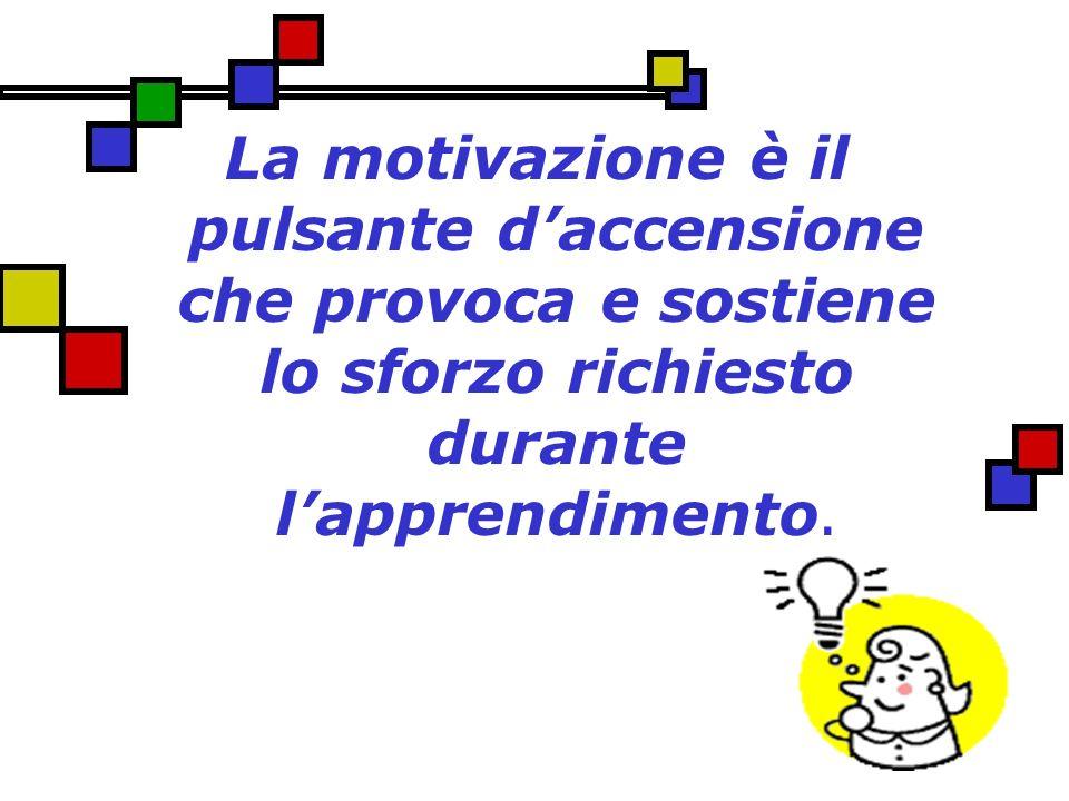 La motivazione è il pulsante d'accensione che provoca e sostiene lo sforzo richiesto durante l'apprendimento.