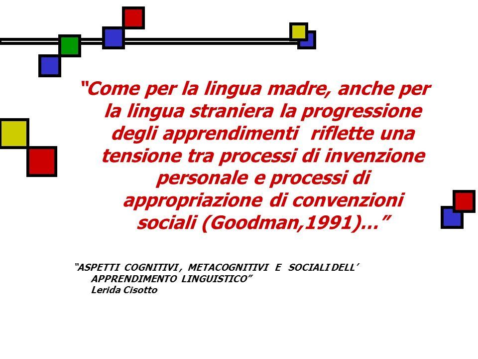 Come per la lingua madre, anche per la lingua straniera la progressione degli apprendimenti riflette una tensione tra processi di invenzione personale e processi di appropriazione di convenzioni sociali (Goodman,1991)…