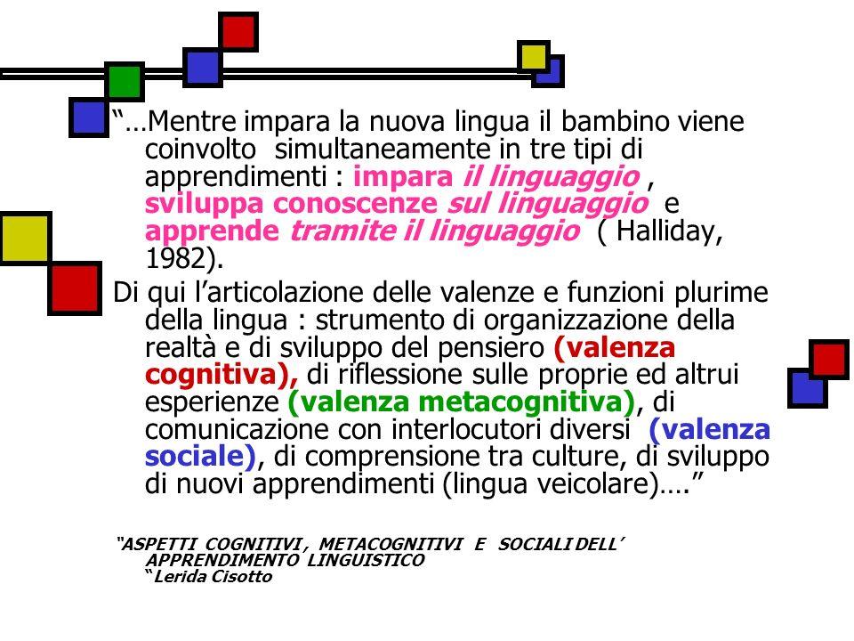 …Mentre impara la nuova lingua il bambino viene coinvolto simultaneamente in tre tipi di apprendimenti : impara il linguaggio , sviluppa conoscenze sul linguaggio e apprende tramite il linguaggio ( Halliday, 1982).