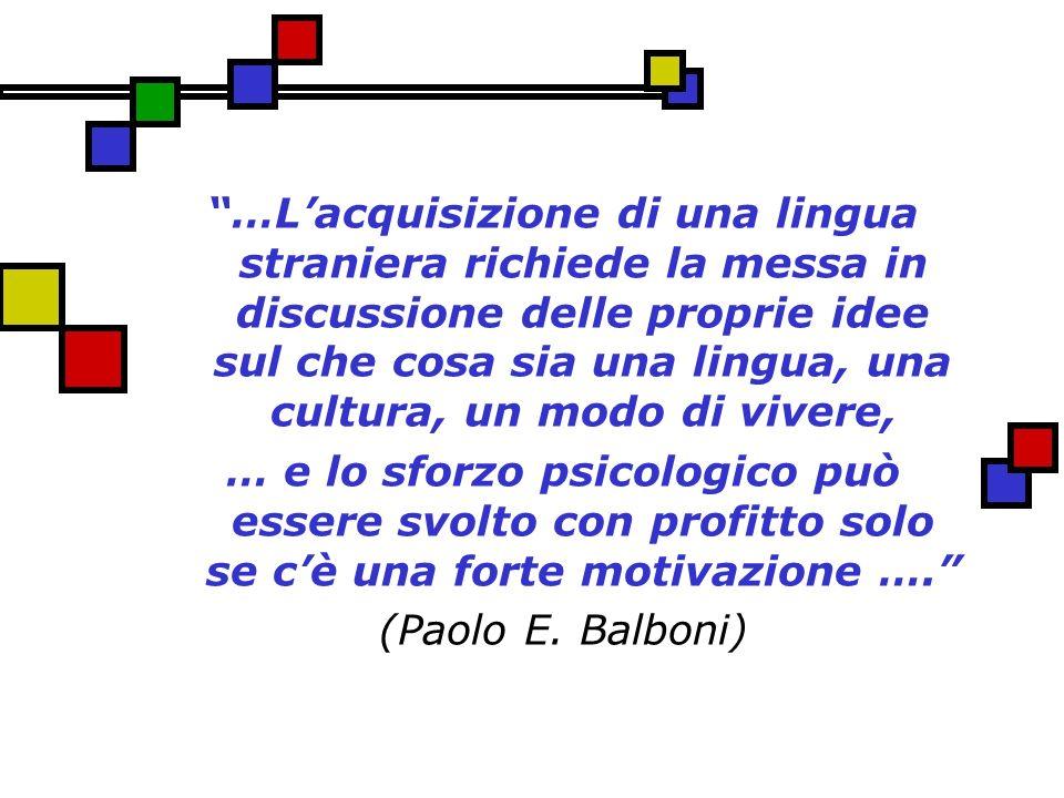 …L'acquisizione di una lingua straniera richiede la messa in discussione delle proprie idee sul che cosa sia una lingua, una cultura, un modo di vivere,