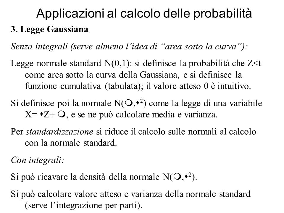 Applicazioni al calcolo delle probabilità