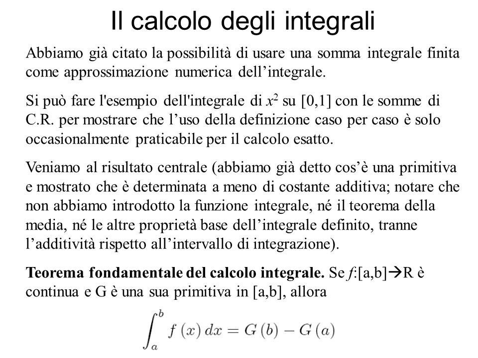 Il calcolo degli integrali