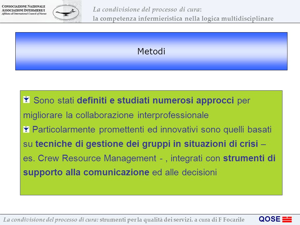 Metodi Sono stati definiti e studiati numerosi approcci per migliorare la collaborazione interprofessionale.