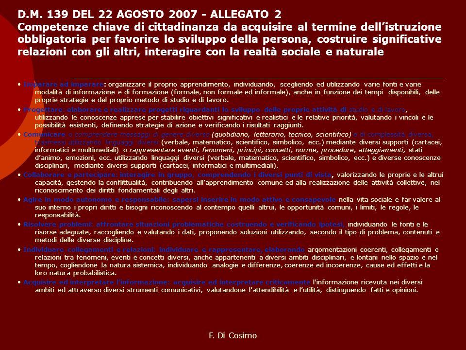 D.M. 139 DEL 22 AGOSTO 2007 - ALLEGATO 2 Competenze chiave di cittadinanza da acquisire al termine dell'istruzione obbligatoria per favorire lo sviluppo della persona, costruire significative relazioni con gli altri, interagire con la realtà sociale e naturale