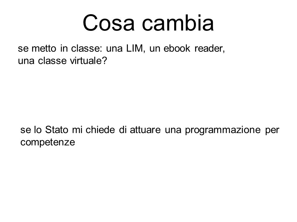 Cosa cambia se metto in classe: una LIM, un ebook reader,