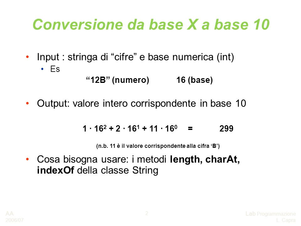 Conversione da base X a base 10