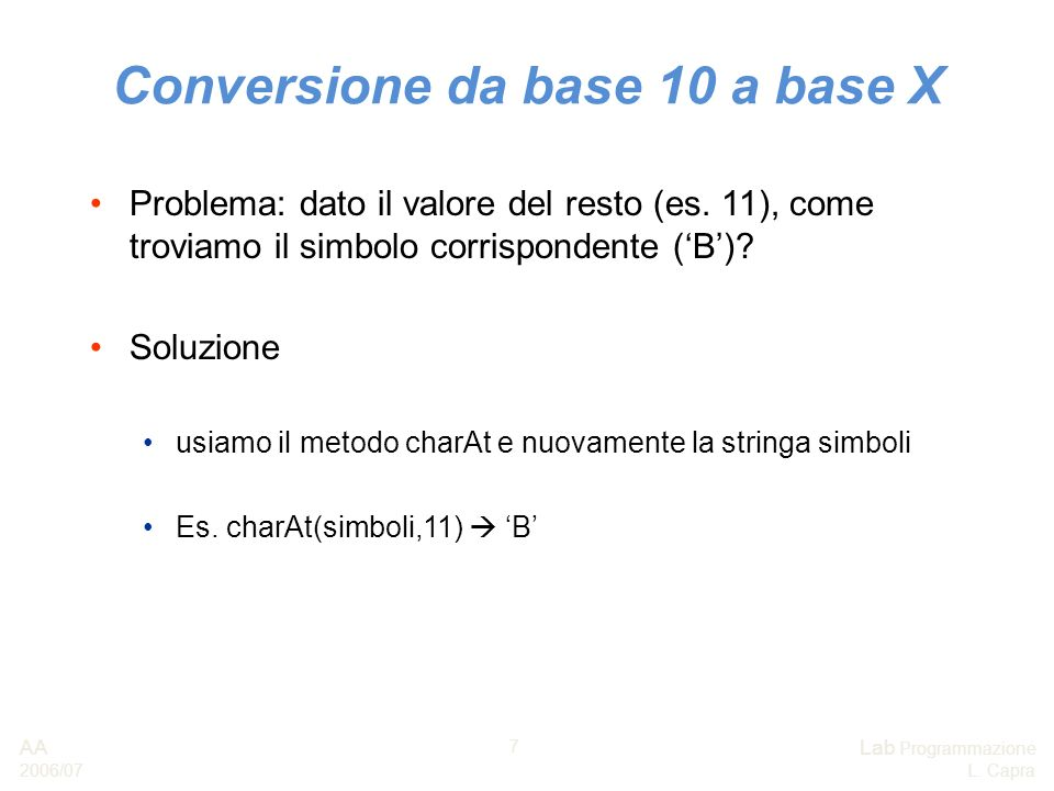 Conversione da base 10 a base X