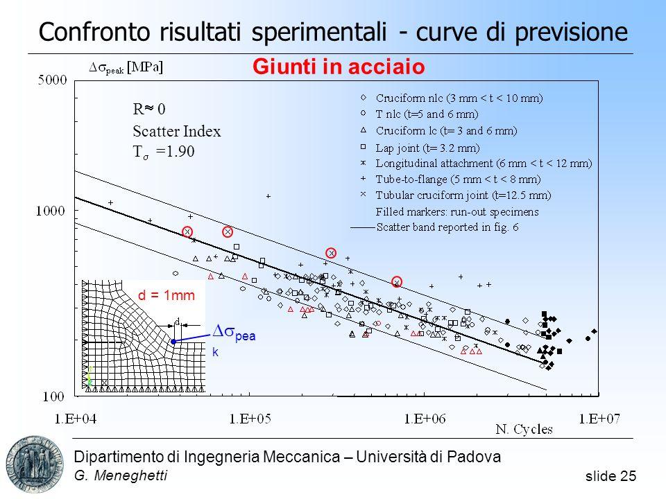 Confronto risultati sperimentali - curve di previsione