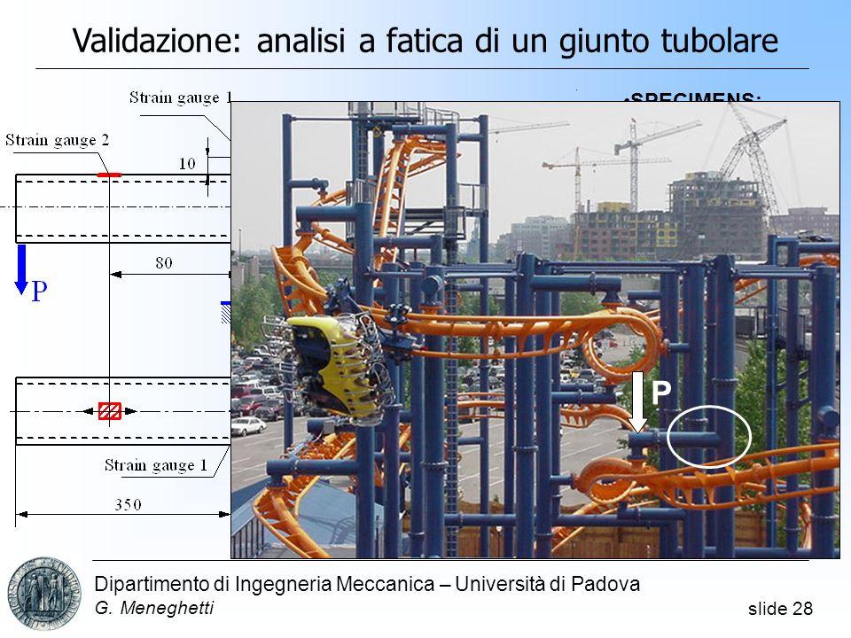 Validazione: analisi a fatica di un giunto tubolare