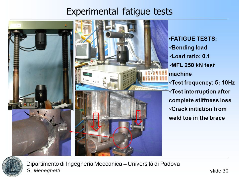 Experimental fatigue tests