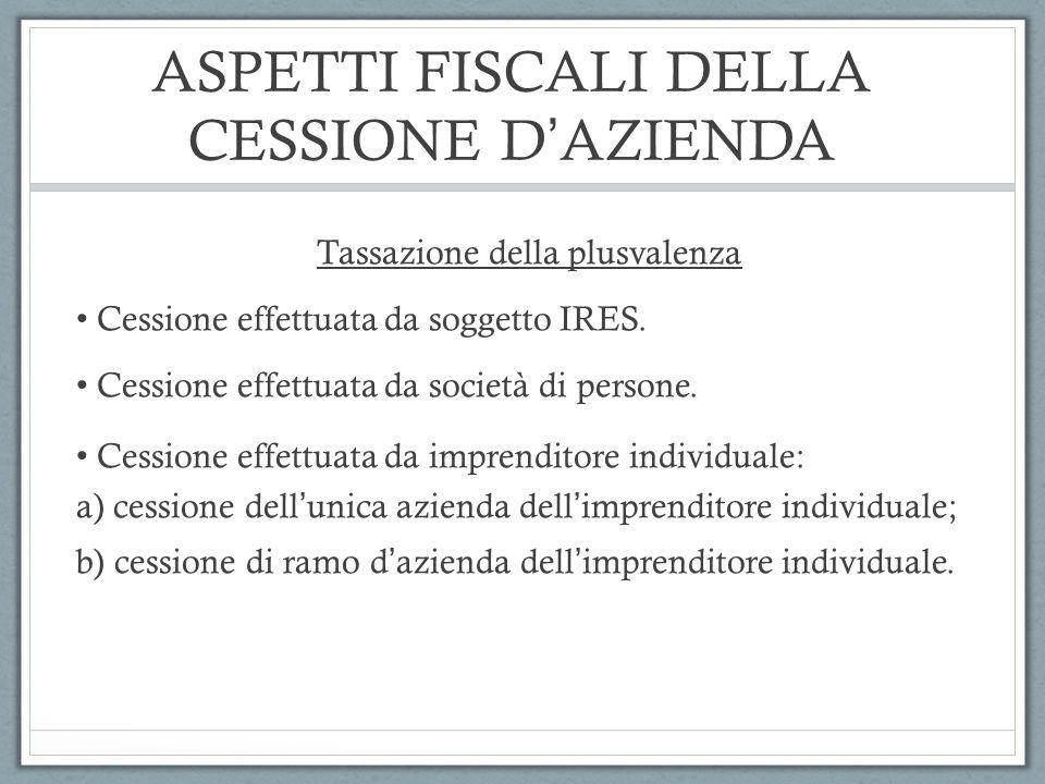 ASPETTI FISCALI DELLA CESSIONE D'AZIENDA