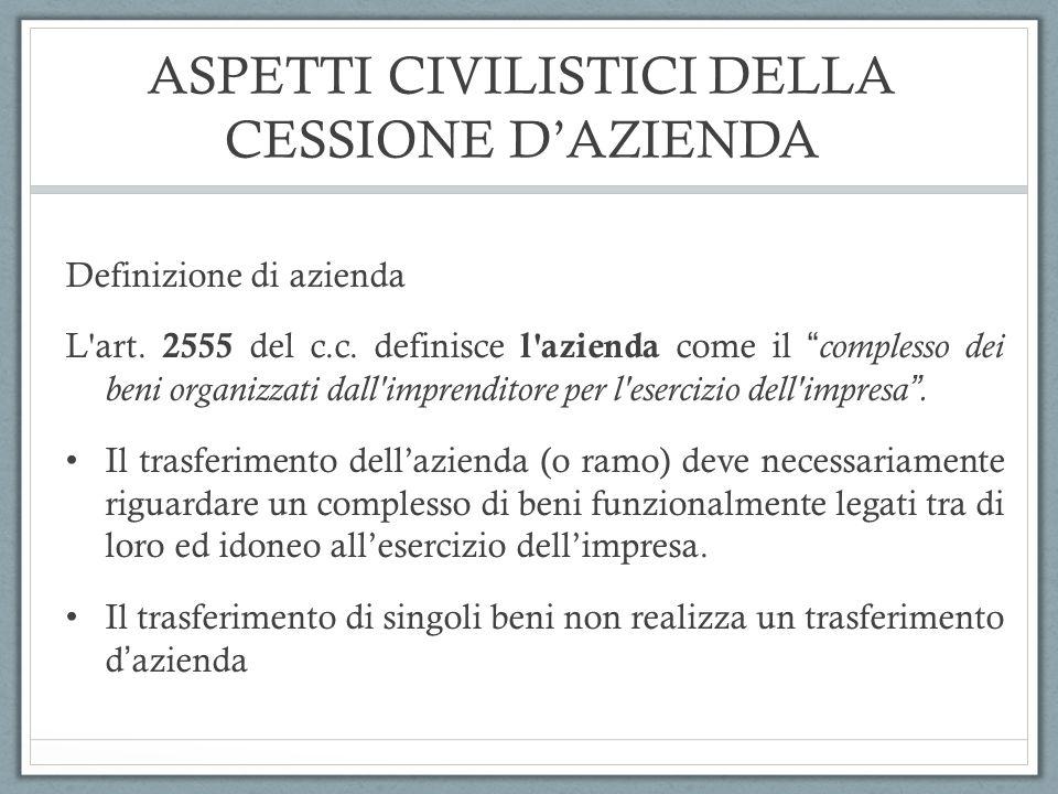 ASPETTI CIVILISTICI DELLA CESSIONE D'AZIENDA