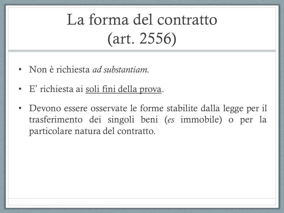 La forma del contratto (art. 2556)