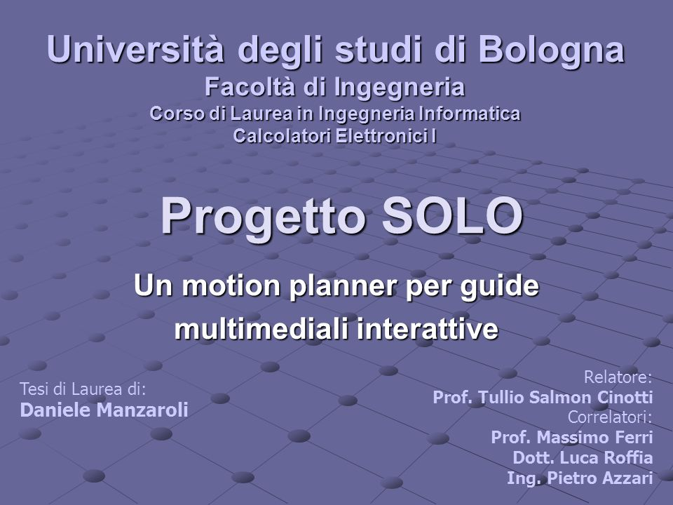 Un motion planner per guide multimediali interattive