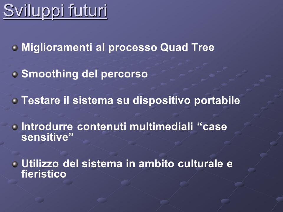 Sviluppi futuri Miglioramenti al processo Quad Tree