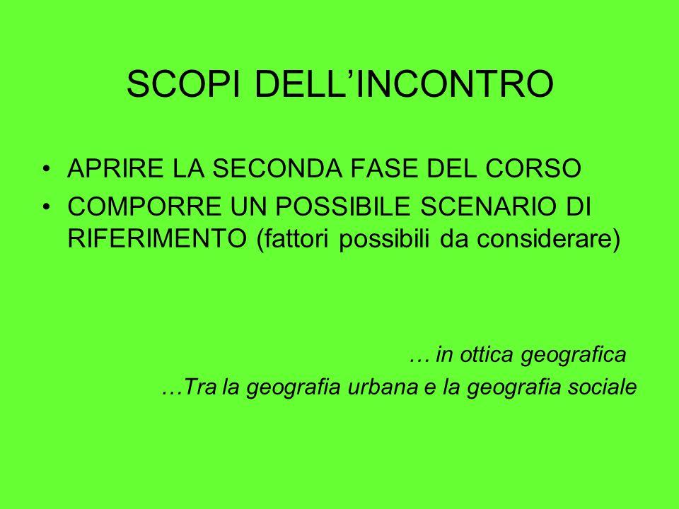 SCOPI DELL'INCONTRO APRIRE LA SECONDA FASE DEL CORSO