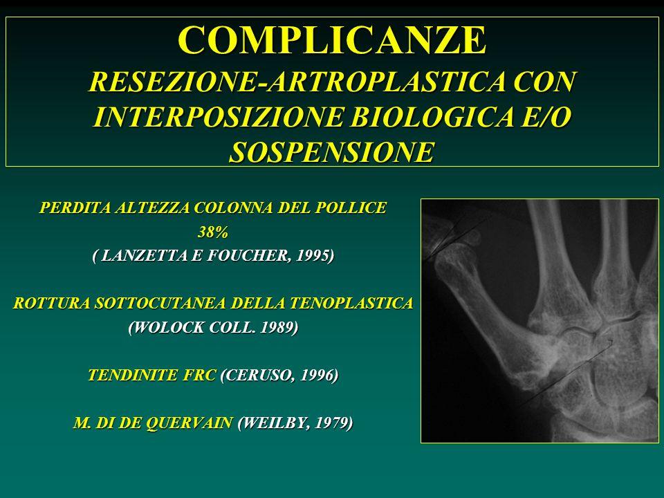 COMPLICANZE RESEZIONE-ARTROPLASTICA CON INTERPOSIZIONE BIOLOGICA E/O SOSPENSIONE