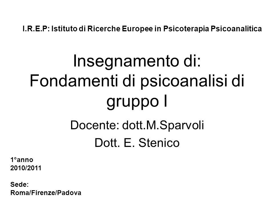 Insegnamento di: Fondamenti di psicoanalisi di gruppo I