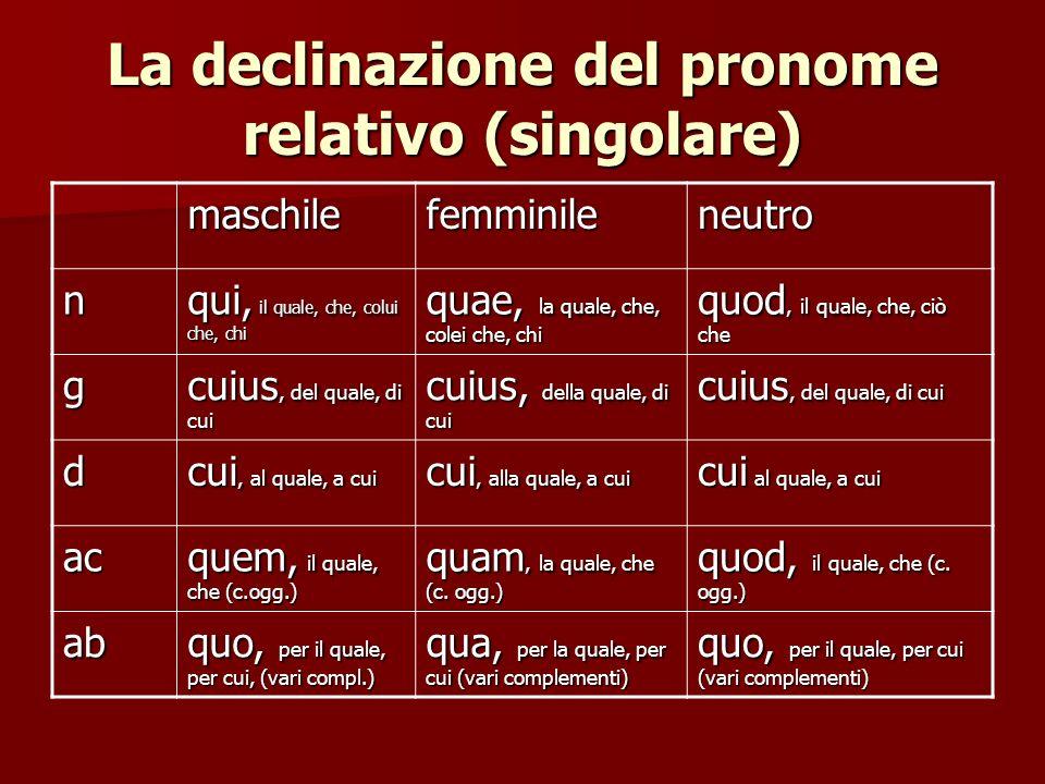 La declinazione del pronome relativo (singolare)