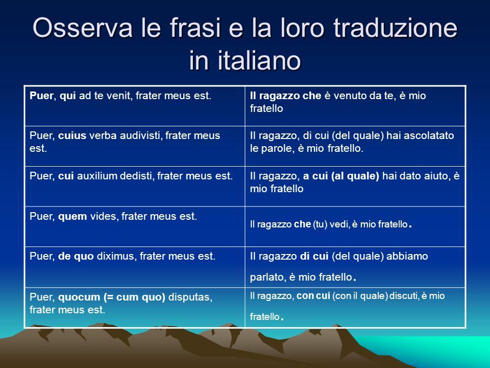 Osserva le frasi e la loro traduzione in italiano