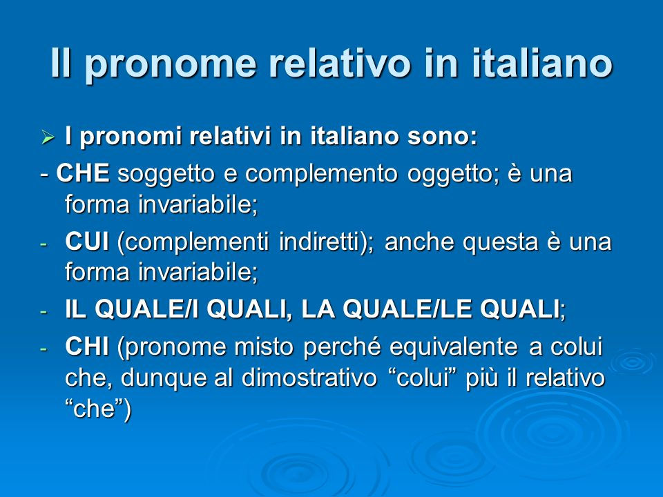 Il pronome relativo in italiano