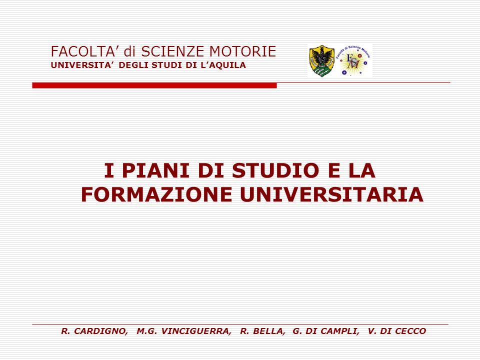 FACOLTA' di SCIENZE MOTORIE UNIVERSITA' DEGLI STUDI DI L'AQUILA