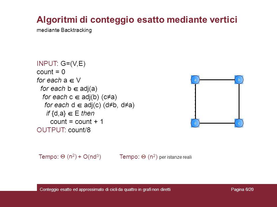 Algoritmi di conteggio esatto mediante vertici