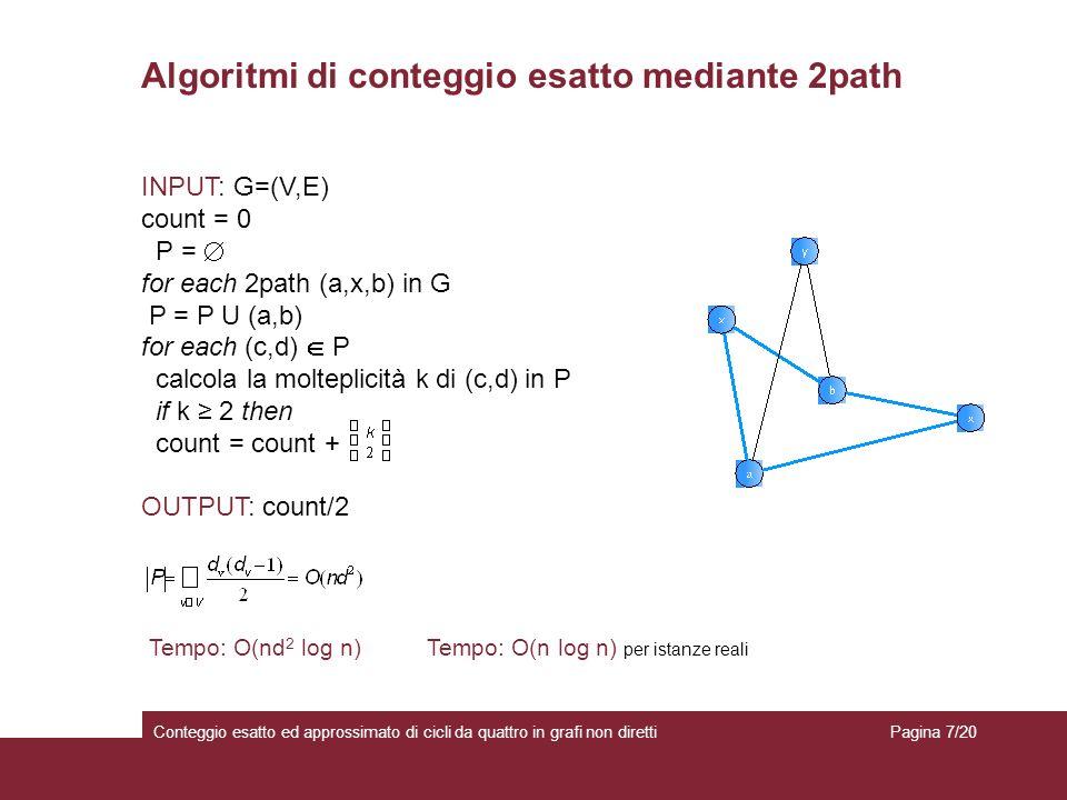 Algoritmi di conteggio esatto mediante 2path