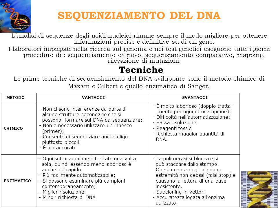 SEQUENZIAMENTO DEL DNA