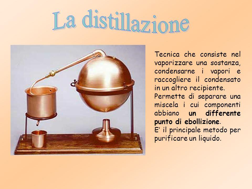 La distillazione Tecnica che consiste nel vaporizzare una sostanza, condensarne i vapori e raccogliere il condensato in un altro recipiente.