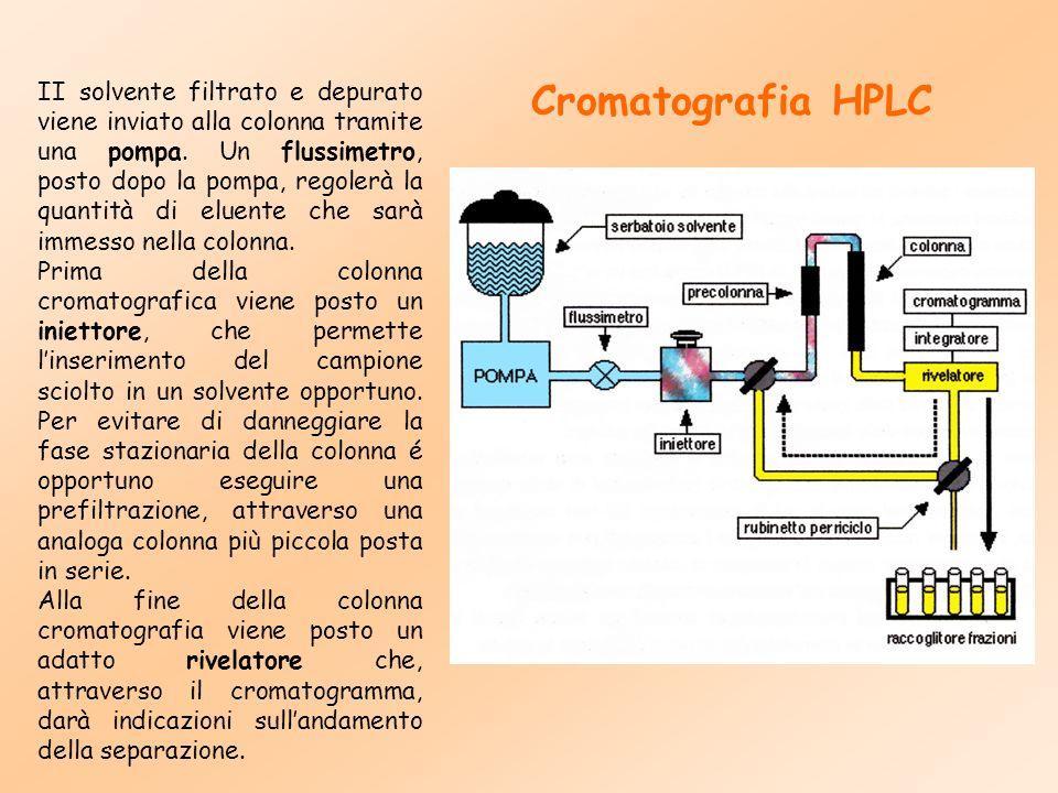 II solvente filtrato e depurato viene inviato alla colonna tramite una pompa. Un flussimetro, posto dopo la pompa, regolerà la quantità di eluente che sarà immesso nella colonna.