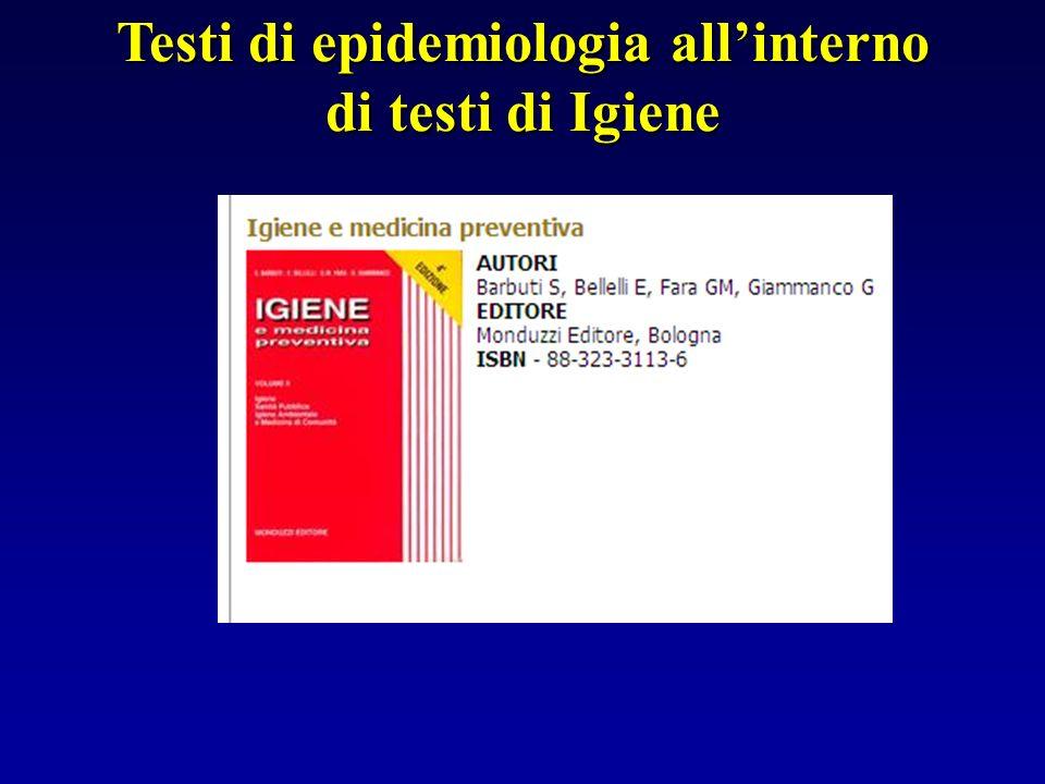 Testi di epidemiologia all'interno di testi di Igiene