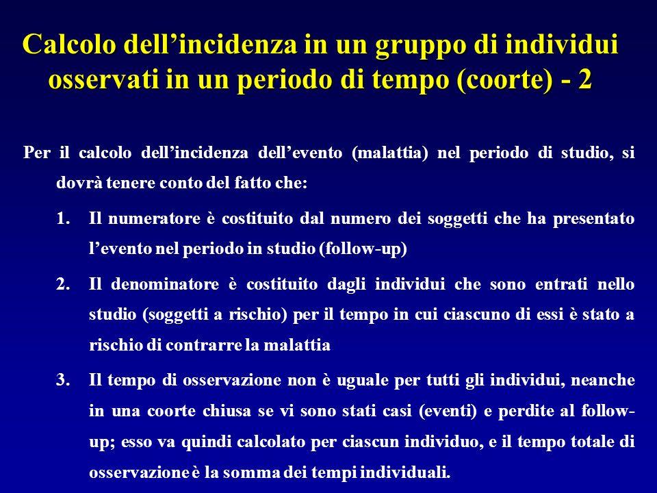 Calcolo dell'incidenza in un gruppo di individui osservati in un periodo di tempo (coorte) - 2