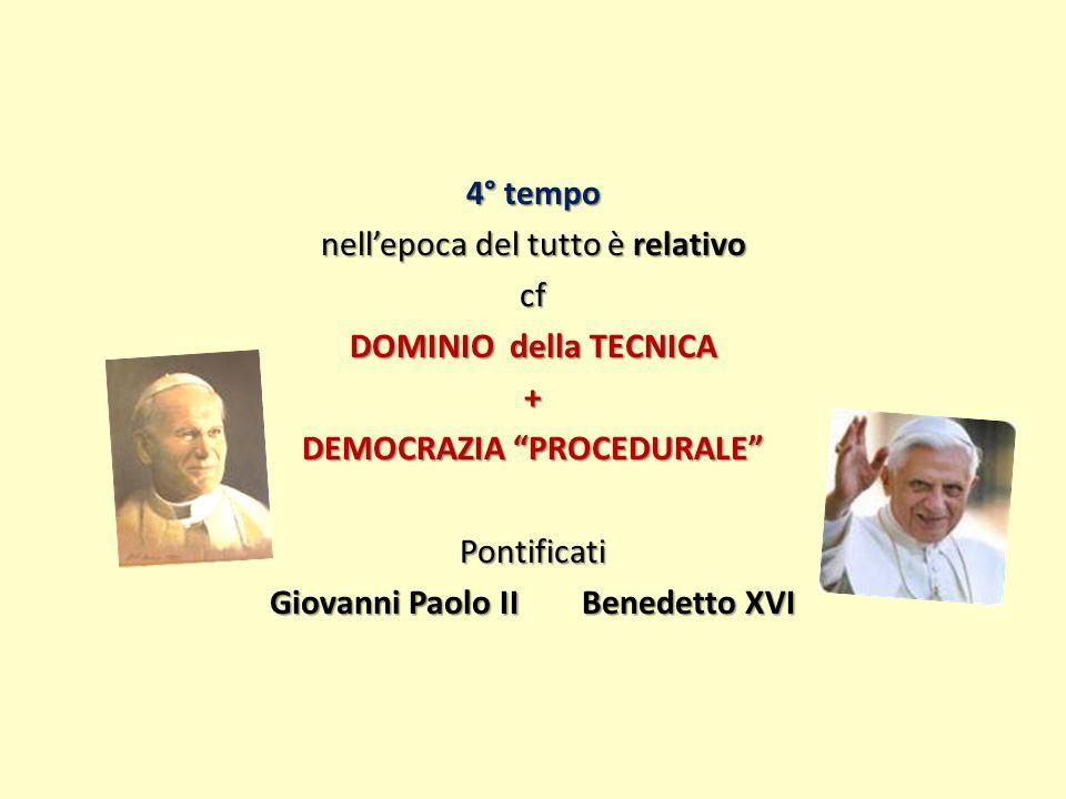 4° tempo nell'epoca del tutto è relativo cf DOMINIO della TECNICA + DEMOCRAZIA PROCEDURALE Pontificati Giovanni Paolo II Benedetto XVI