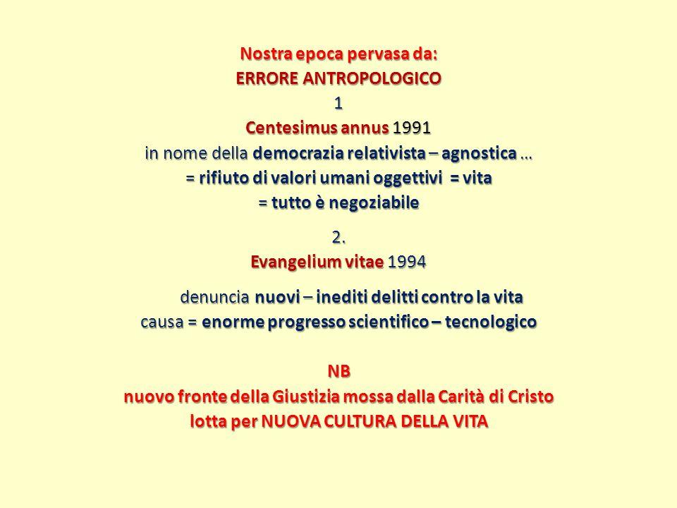 Nostra epoca pervasa da: ERRORE ANTROPOLOGICO 1 Centesimus annus 1991 in nome della democrazia relativista – agnostica … = rifiuto di valori umani oggettivi = vita = tutto è negoziabile 2.
