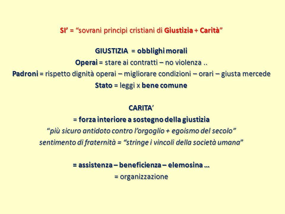 SI' = sovrani principi cristiani di Giustizia + Carità GIUSTIZIA = obblighi morali Operai = stare ai contratti – no violenza ..