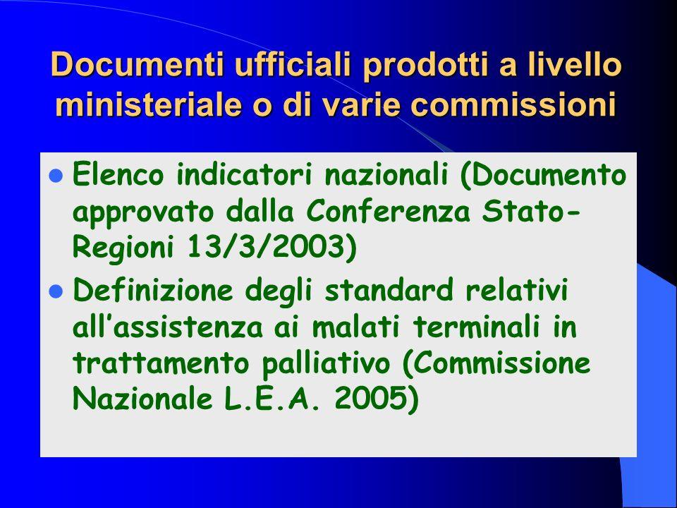 Documenti ufficiali prodotti a livello ministeriale o di varie commissioni