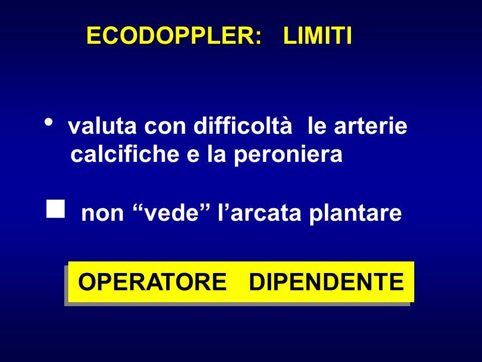 ECODOPPLER: LIMITI  valuta con difficoltà le arterie. calcifiche e la peroniera.  non vede l'arcata plantare.