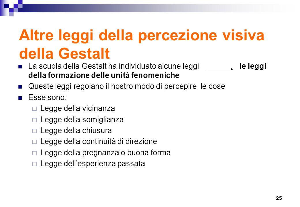 Altre leggi della percezione visiva della Gestalt