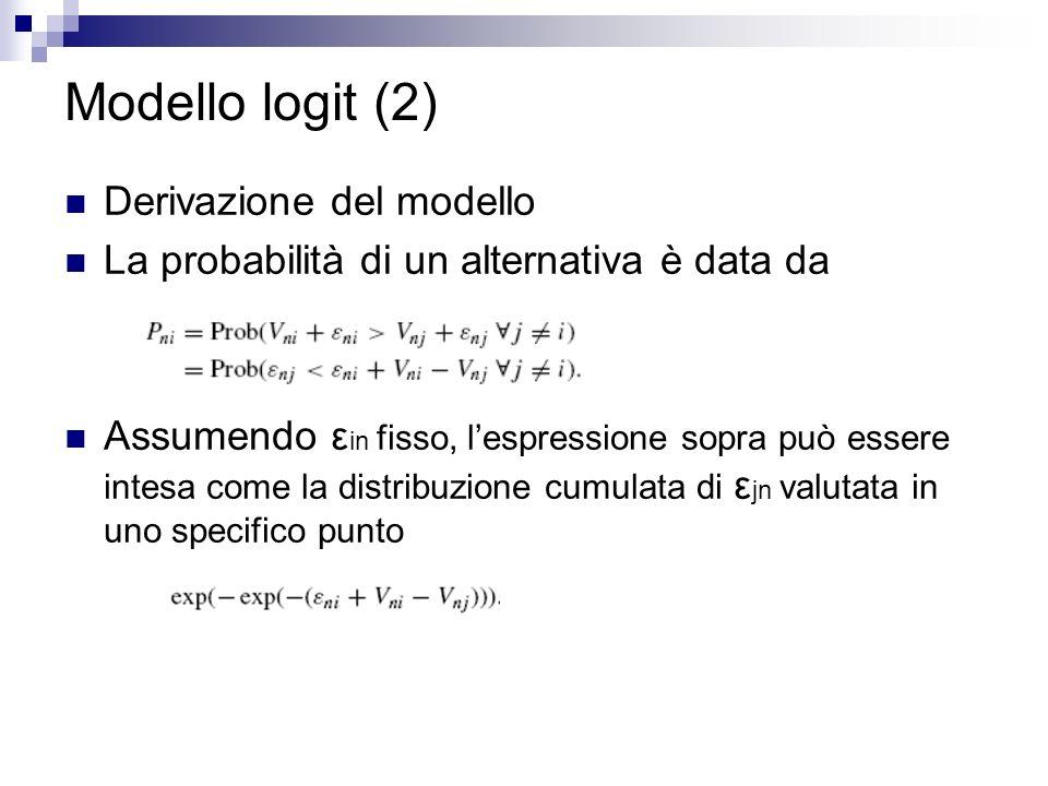 Modello logit (2) Derivazione del modello