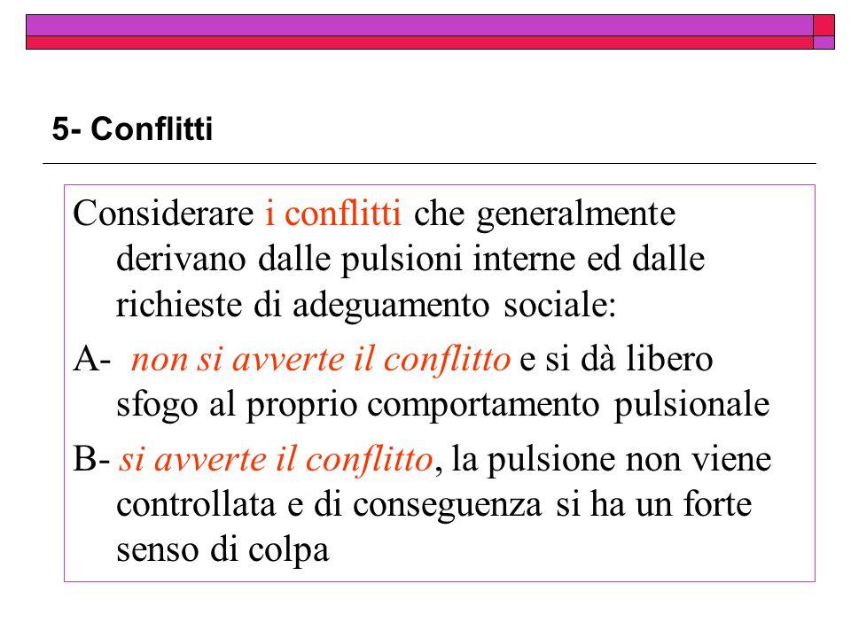 5- Conflitti Considerare i conflitti che generalmente derivano dalle pulsioni interne ed dalle richieste di adeguamento sociale: