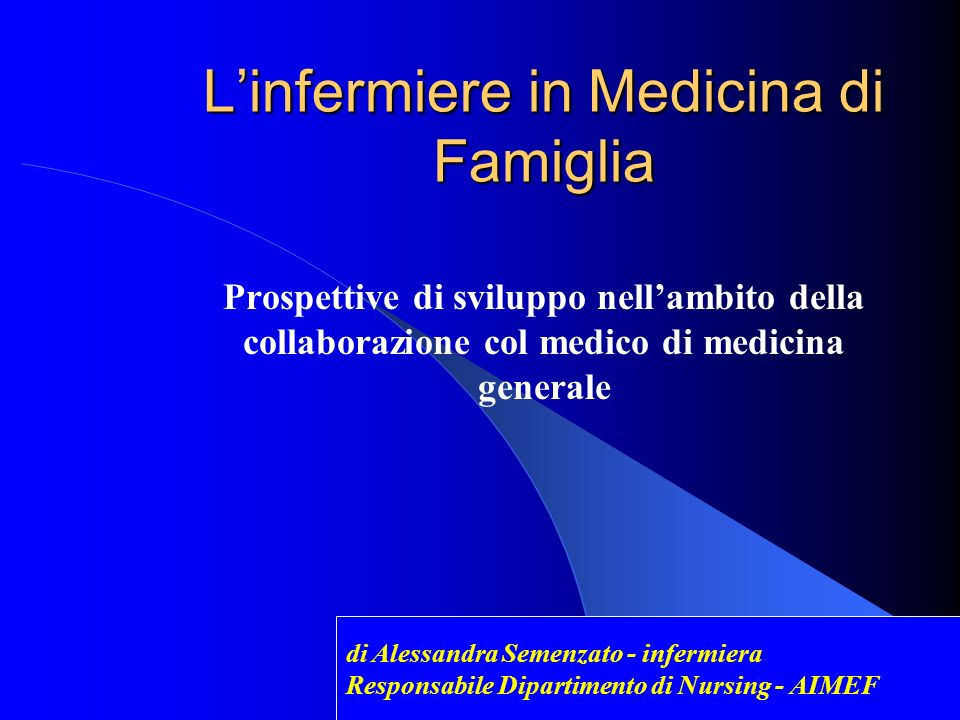 L'infermiere in Medicina di Famiglia