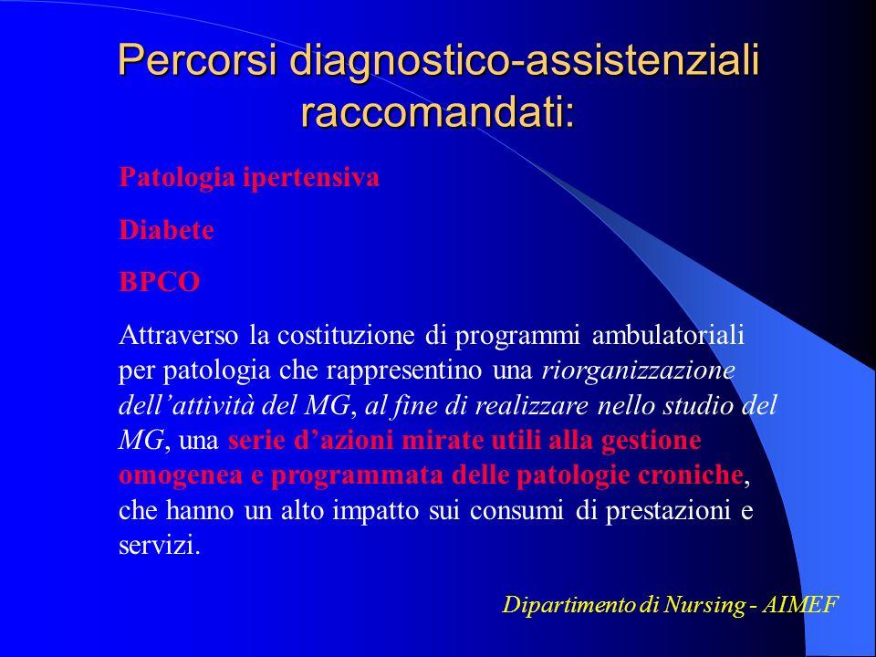 Percorsi diagnostico-assistenziali raccomandati:
