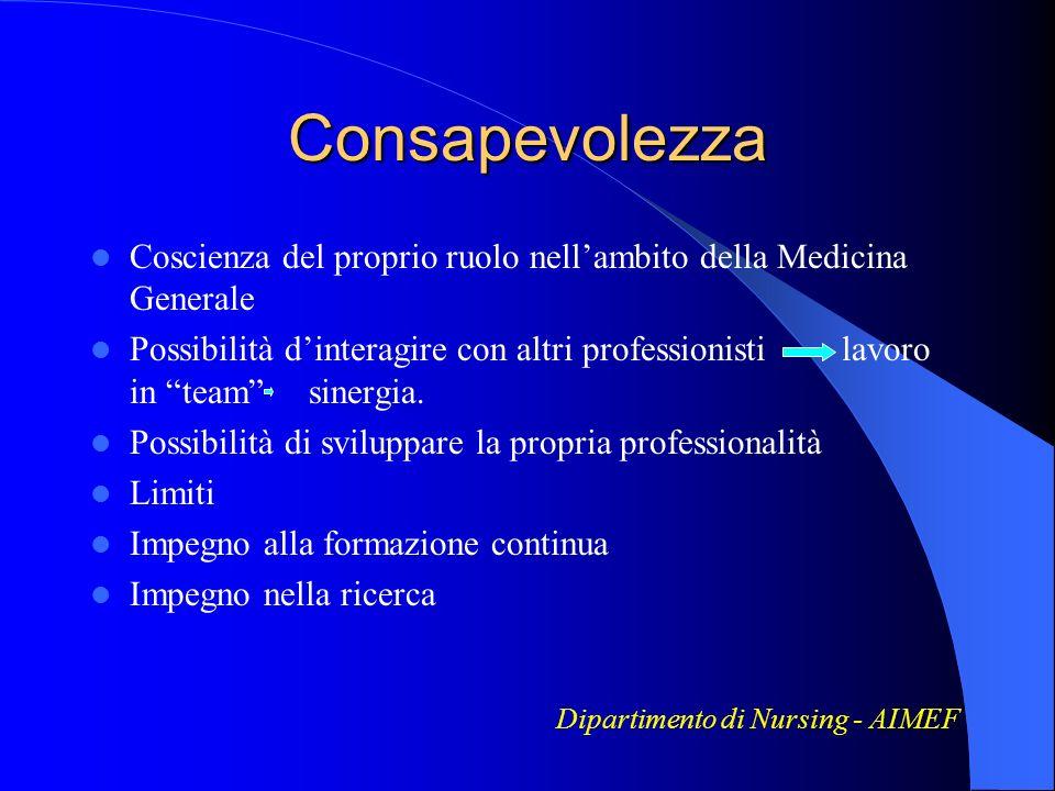 Consapevolezza Coscienza del proprio ruolo nell'ambito della Medicina Generale.