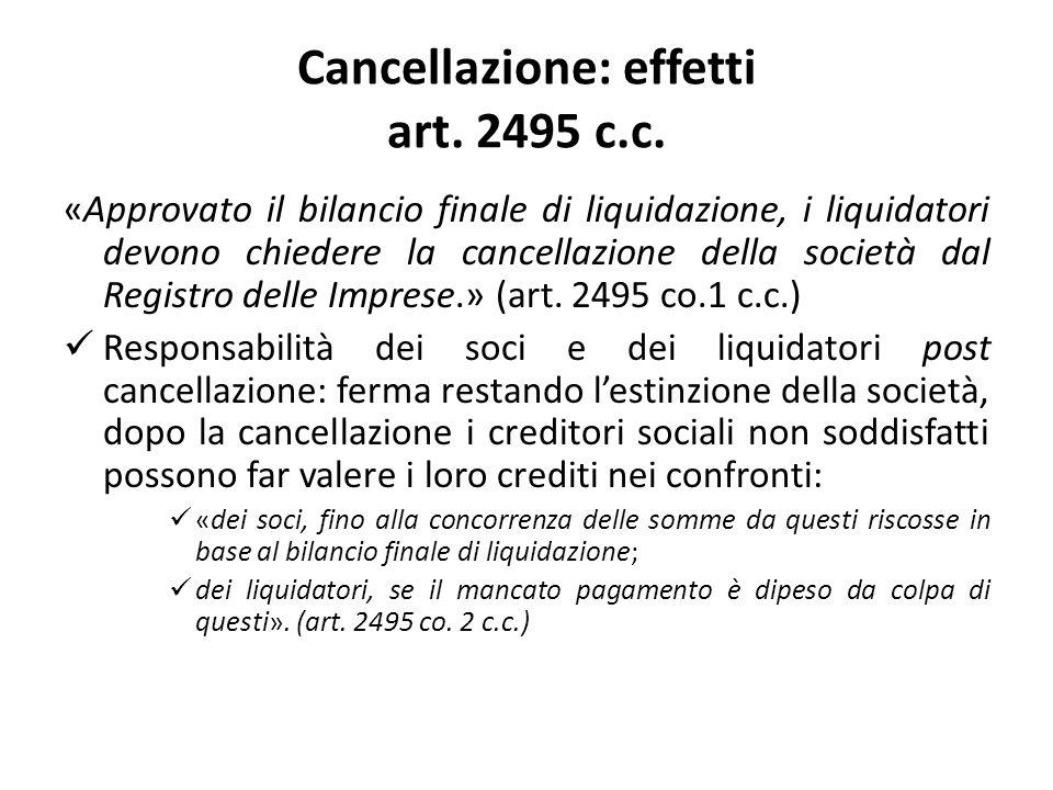 Cancellazione: effetti art. 2495 c.c.