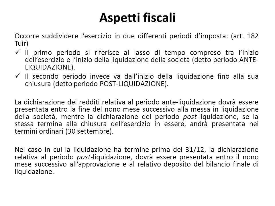 Aspetti fiscali Occorre suddividere l'esercizio in due differenti periodi d'imposta: (art. 182 Tuir)